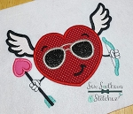 Cool Heart Cupid Valentine Applique Design